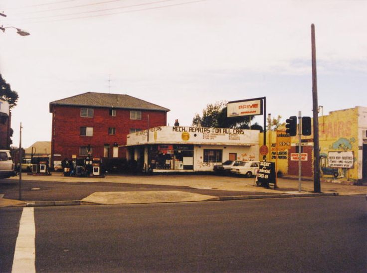 1991 536A King Street Newtown, on the corner of Angel Street. Prime Petroleum Service Station is on the site with the red brick apartment building on Iredale Street behind it.