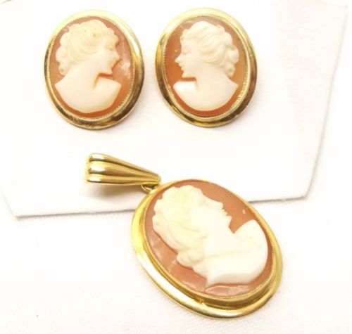 Vtg 10K Gold Carved Shell Cameo Earring Pendant Set Victorian Womans Face Estate in Jewelry & Watches, Vintage & Antique Jewelry, Fine, Art Nouveau/Art Deco 1895-1935, Earrings | eBay