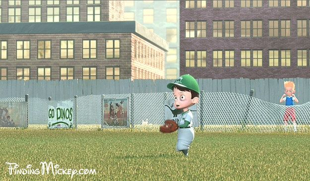 Seriously????  Posters for The Jungle Book and Toy Story 2 can be seen on the baseball field in Meet the Robinsons .