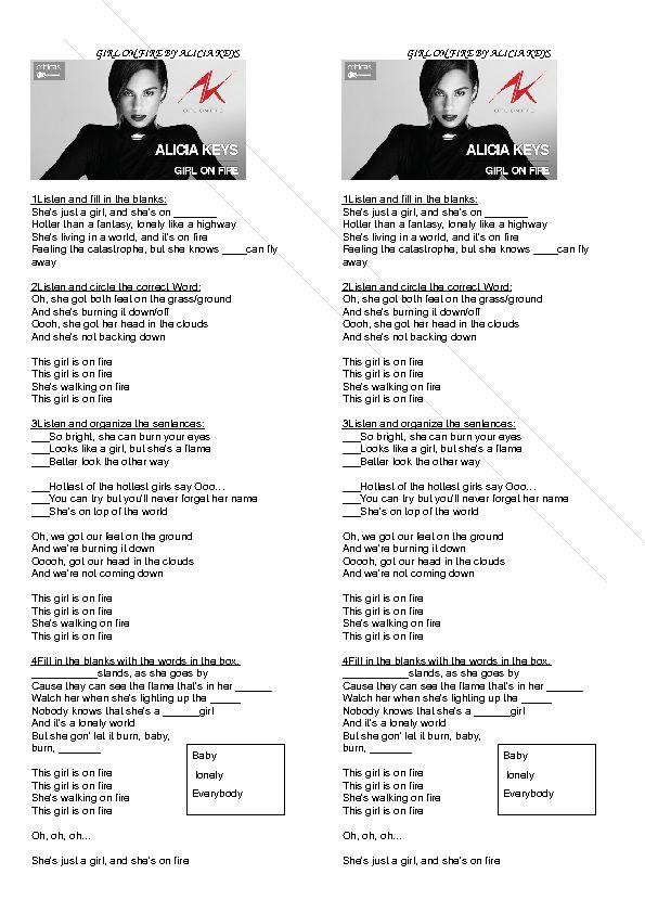Song Worksheet: Girl on Fire