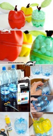 Plastic-Bottle-APPLES Vous pourrez vous en servir comme contenant pour des sucreries, comme tirelire, pour  votre coton a démaquiller, pour y mettre les petit accessoires de couture