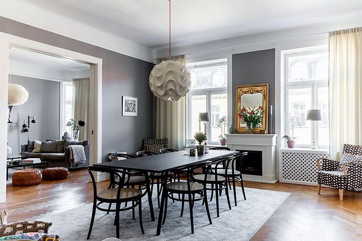 Swedish home with cool black and white photos on the walls 161 sqm gray wall paints interiors online and paint rug