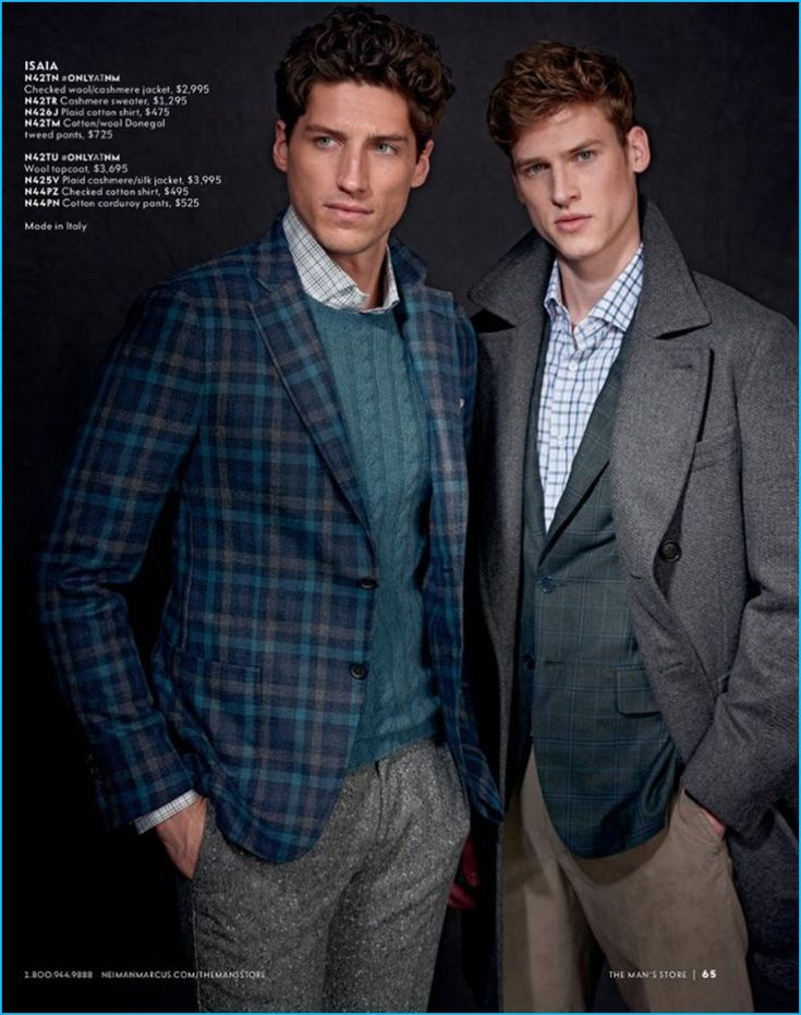 Models Ryan Kennedy and Joel Meacock wears suiting separates and knitwear by ISAIA.