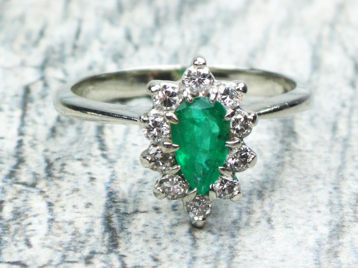 Vintage Emerald Ring Diamond Ring 14k White Gold Genuine Emerald Diamond Halo Ring Emerald Ring Natural Emerald Ring May Birthstone Size 7.5 by BelmarJewelers on Etsy https://www.etsy.com/listing/481262131/vintage-emerald-ring-diamond-ring-14k