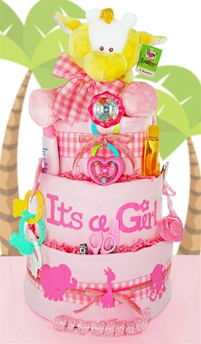 "Sweet Safari Diaper Cake, ""It's a Girl"" for baby!"