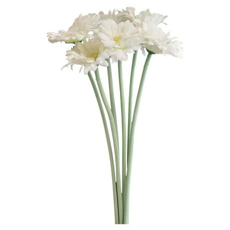 Nicola Spring Artificial Long Stem Gerbera Plant In White - 54cm - Bunch Of 6 Stems