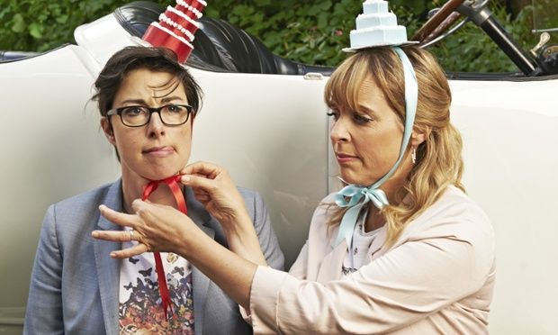 Cake hats! Sue Perkins and Mel Giedroyc. The Great British Bake Off.