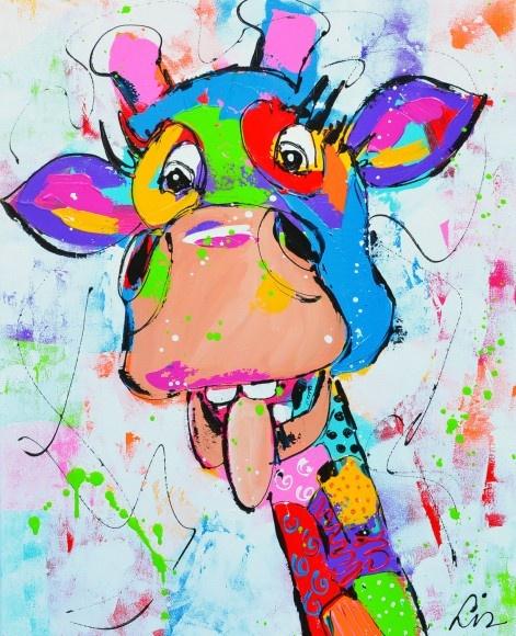 AaartNL.nl - Bekijk het schilderij 'blije giraf' van Liz