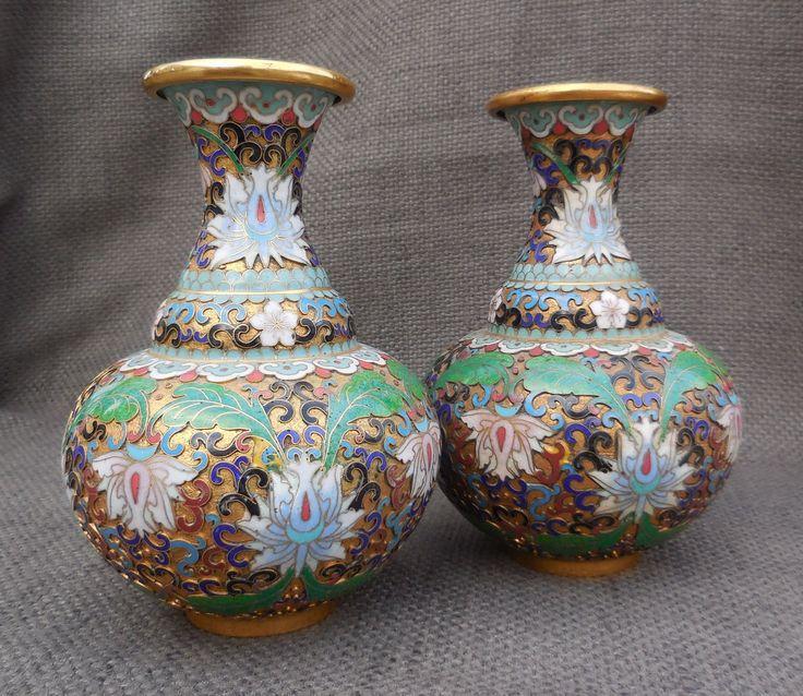 PAIR Beautiful CLOISONNE Enamel VASES...Vintage Chinese Oriental Asian Vase...Floral Home Decor Display! by SlimandSugar on Etsy