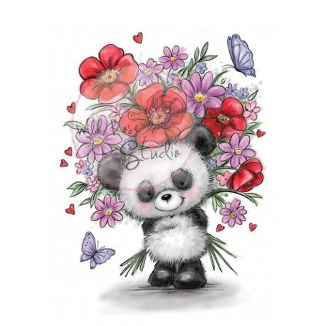 Tampon dessin wild rose studio panda et grand bouquet de for Bouquet de fleurs 974