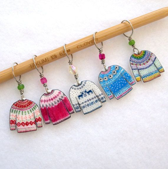 colorful, bulky sweater stitch markers...with last years crazy cold and snowy winter, how could I resist doodling a drawer full of beautiful,