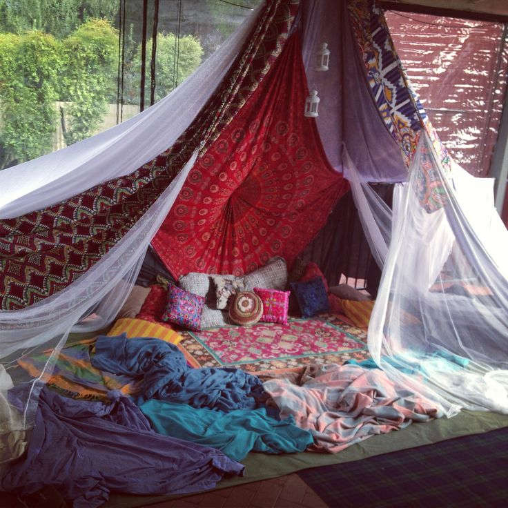 Bohemian tent hideaway spaces pinterest backyards peace and boho - Decorating a canopy tent ...