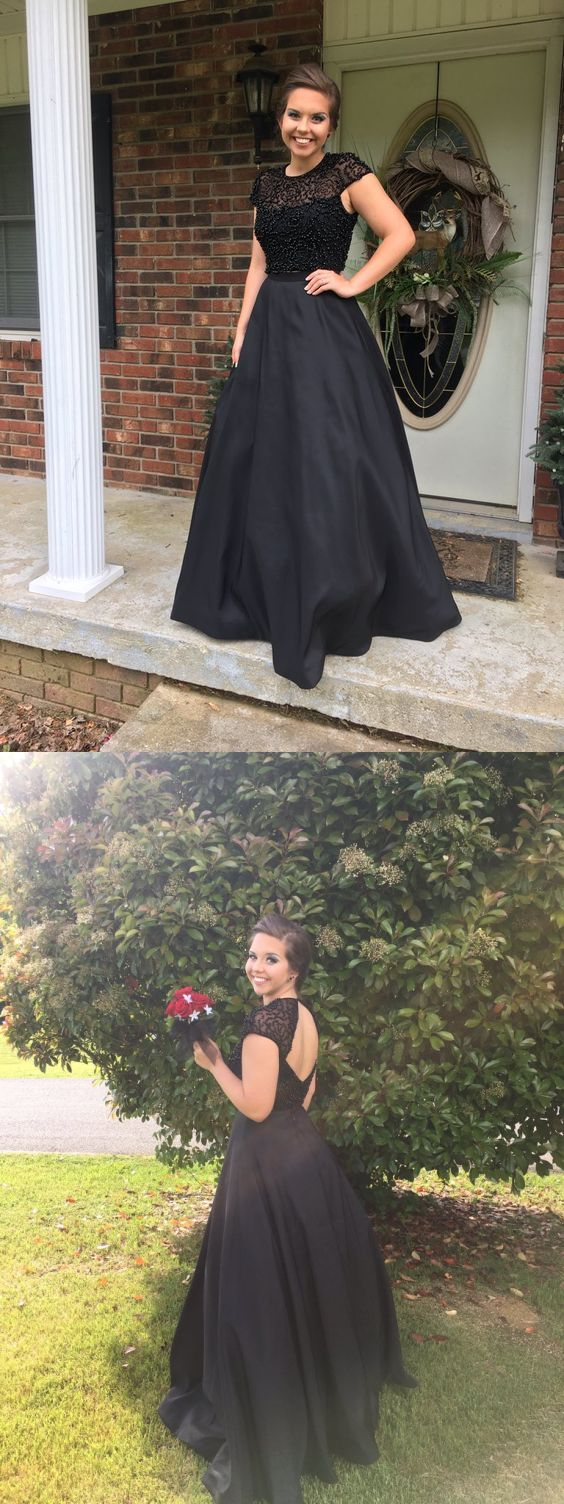 Elegant Prom Dress,Scoop Prom Dress,A-line Prom Dress,Cap Sleeves Prom Dress,Black Prom Dress,Beading Prom Dress,Prom Dress,Prom Dresses,2017 Prom Dress,2017 Prom Dresses