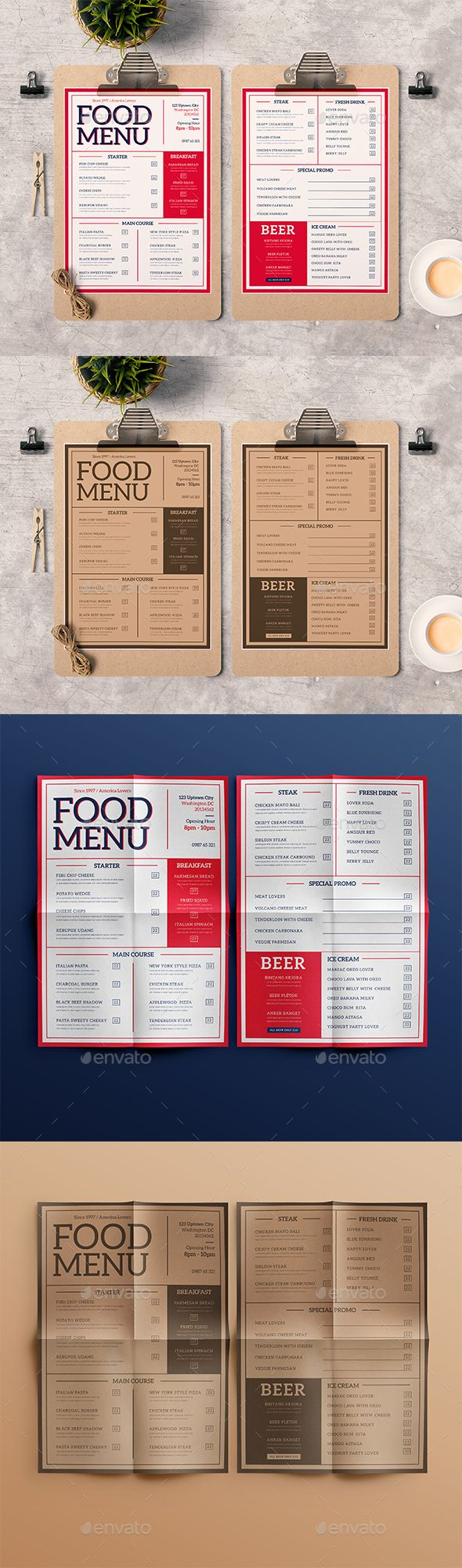 Modern Food Menu  — PSD Template #steak #creative • Download ➝ https://graphicriver.net/item/modern-food-menu/18313904?ref=pxcr
