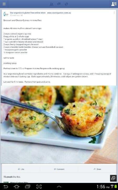 Broccoli & cheese quinoa mini muffins