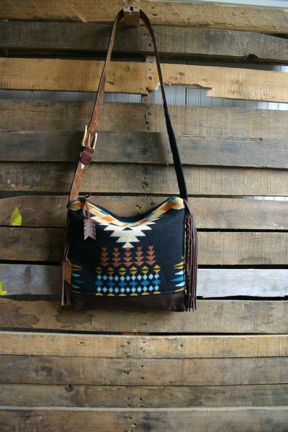 Tribal/ Navajo wool purse  with leather by MercyGreyDesignCo, $160.00