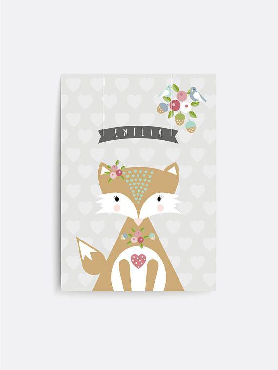 Fox Personalised baby nursery print. Baby name sign. Baby ...