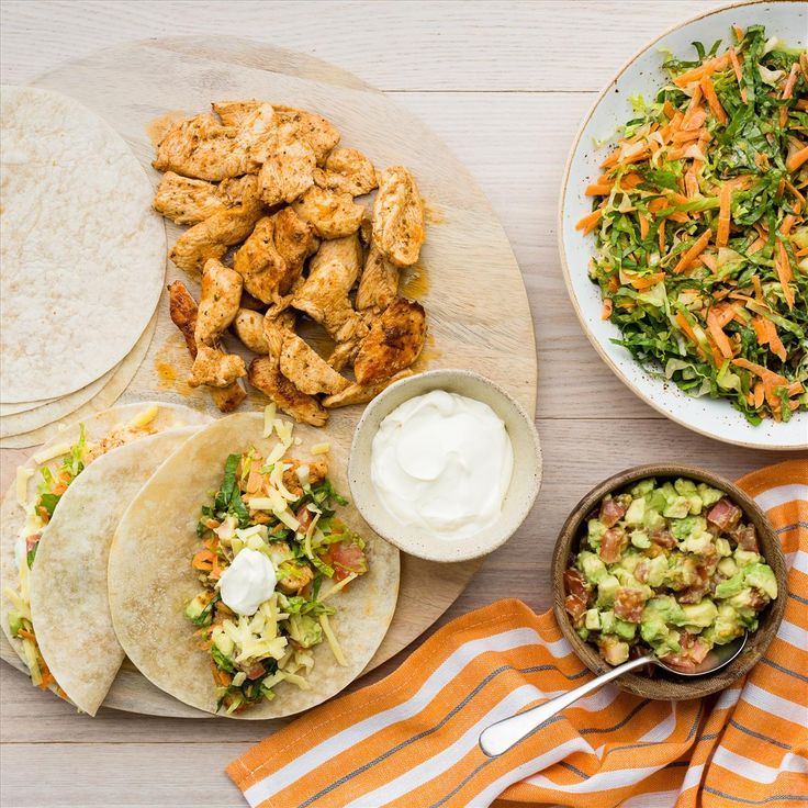 Soft Shell Chicken Tacos with Chipotle Salad and Avocado Salsa