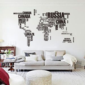 Letter World Map Quote Removable Vinyl Decal Art Mural Home Decor Wall Stickers | eBay