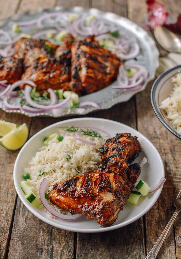 Grilled Tandoori Chicken with Indian-Style Rice - Pollo simil tandoori con riso aromatizzato alle spezie
