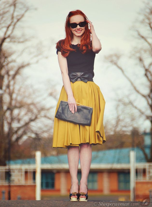 Mustard Skirt with black