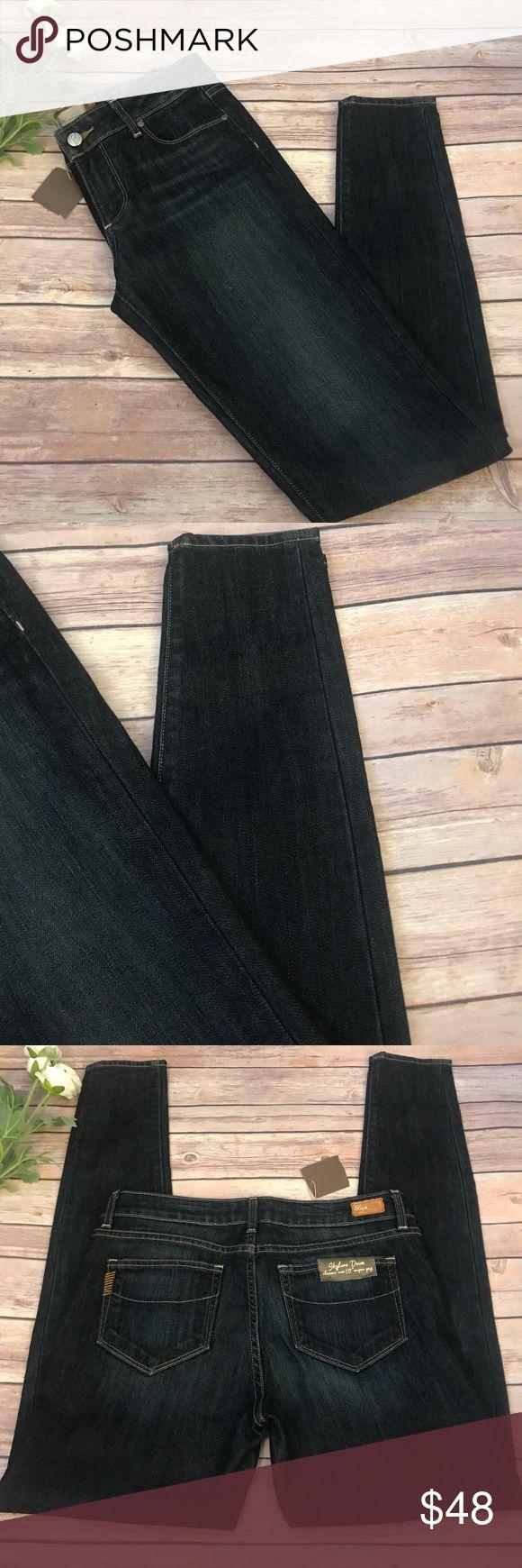 "Paige premium denim New! Skyline Drive"" classic rise 10"" super peg denim jean by Paige Premium denim. Dark blue with whisker wash fade. Classic hard denim peg ankle bottom. 60%cotton: 40% polyester. Paige premium denim Jeans Skinny"