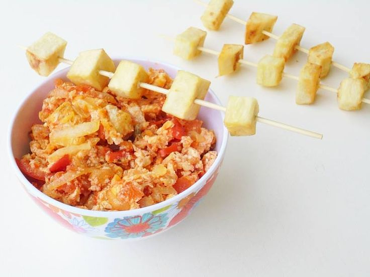 Tomato egg sauce with cubed yam sticks.