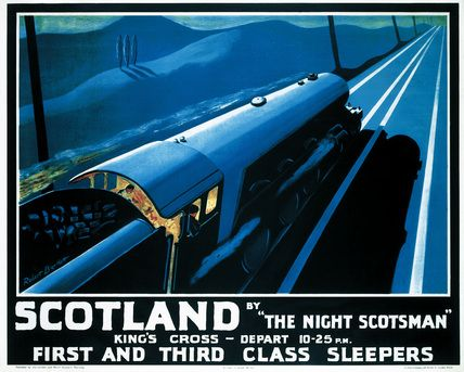 Poster produced by London & North Eastern Railway (LNER) to promote overnight rail services to Scotland by ''''The Night Scotsman'''' locomotive. The poster advertises the first and third class sleepers available on the service which departed King''''s Cross London at 22.25. The poster shows a locomotive travelling along the tracts at night. Artwork by Robert Bartlett.