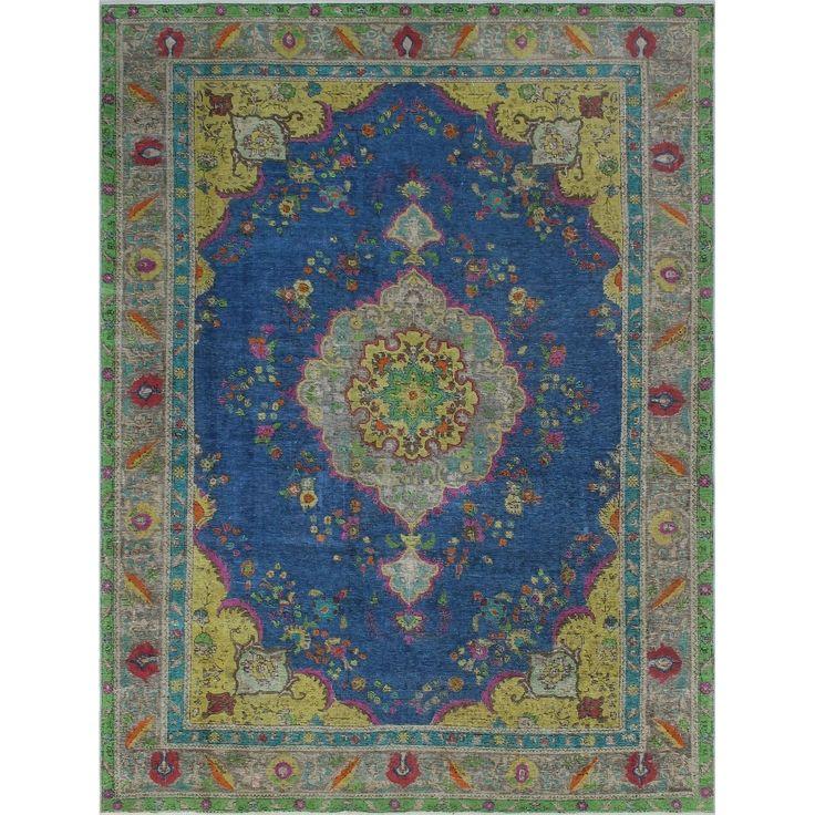 Vintage Distressed Overdyed Alita Blue/Grey Rug (7'11 x 10'10), Size 8' x 11' (Wool, Oriental)