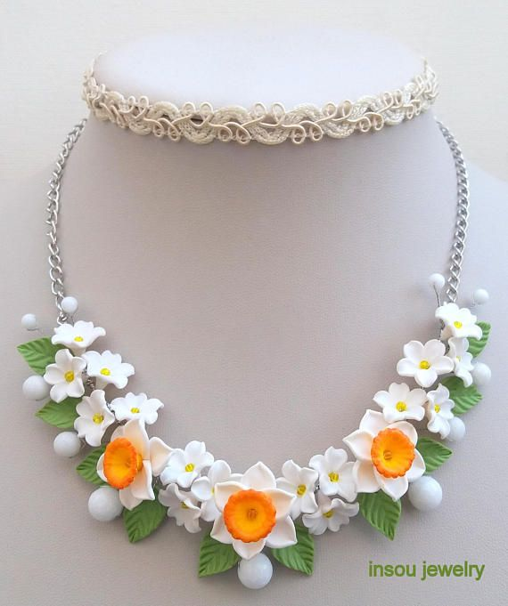 Narcissus  Flower necklace  White necklace  Handmade