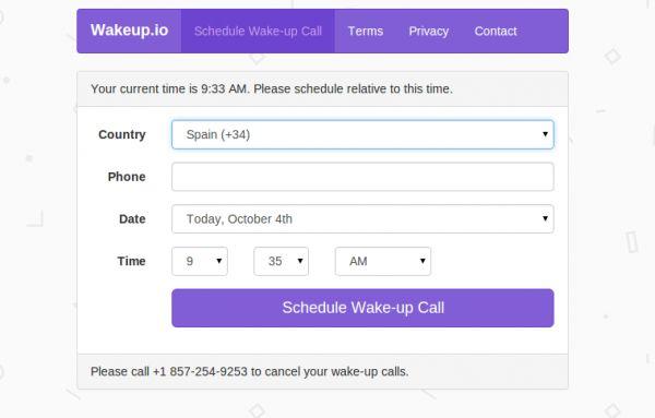 wakeup.io – Recibe una llamada telefónica para despertar cada día