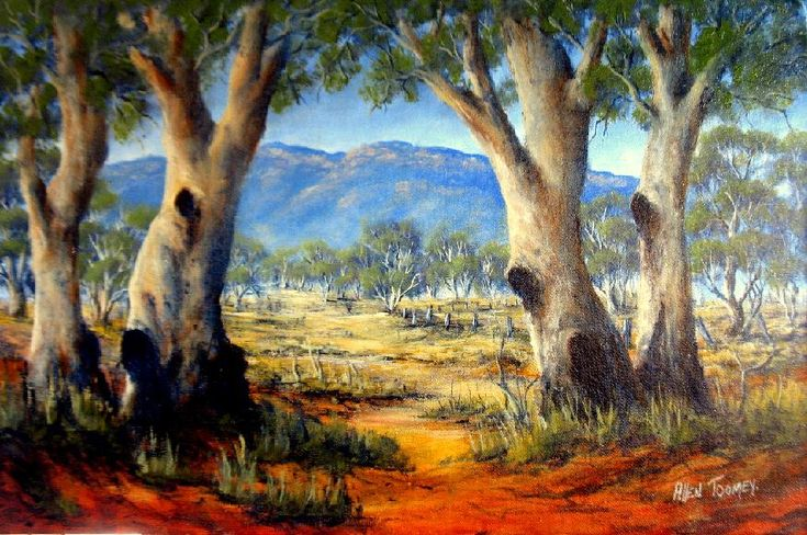 Painted by Allen Toomey, January 2011. This spectacular painting was created on location in South Australia in the southern Flinders Ranges. While traveling around Australia I was camping in the Melrose showgrounds and saw this beautiful scene to capture in oil on canvas. The trees are Australian River Gum and the blue haze of Eucalypt can be seen on the ranges.