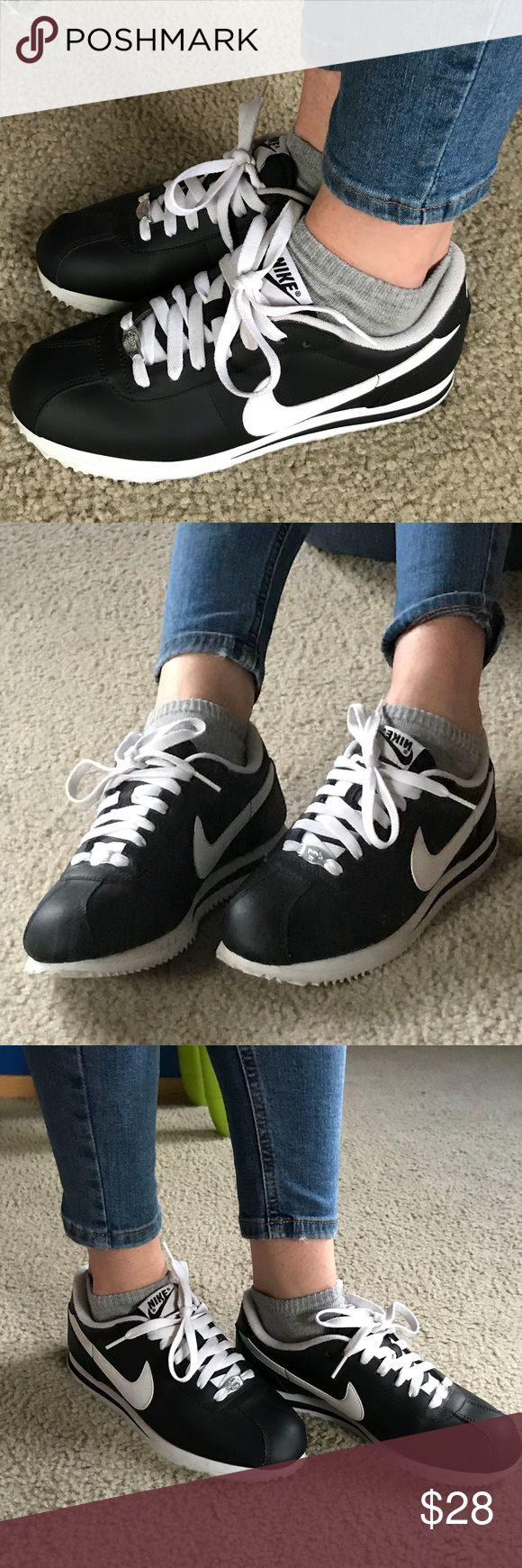 Black Leather Nike Cortez Shoes Only worn a handful of times, very comfortable. Looks nearly new  True to size Nike Shoes Sneakers