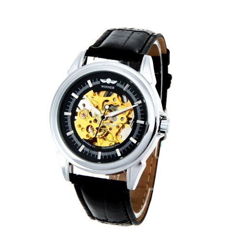 WINNER Fashionable Hollowed-out Mechanical Wristwatch Transparent Dial Automatic Skeleton Watch