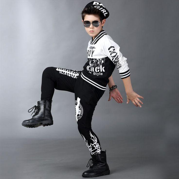 Newly Spring Autumn Kids Hip Hop Dancewear Boys Modern Streetwear Costumes Child Dance Wear Tops + Pants