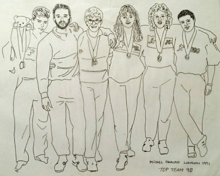 Fulham Pools London Uk Top Team 1990 with Michel Chauny, Jan, Lorraine Gomm, Jane Badillo & Rob Jones