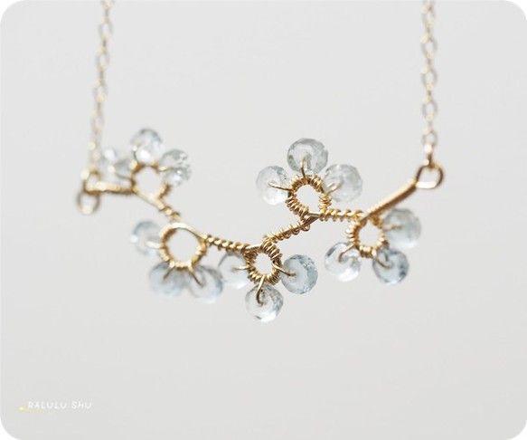 【RALULU.SHU】 3月誕生石 天使の石 アクアマリン 桜花 ネックレス