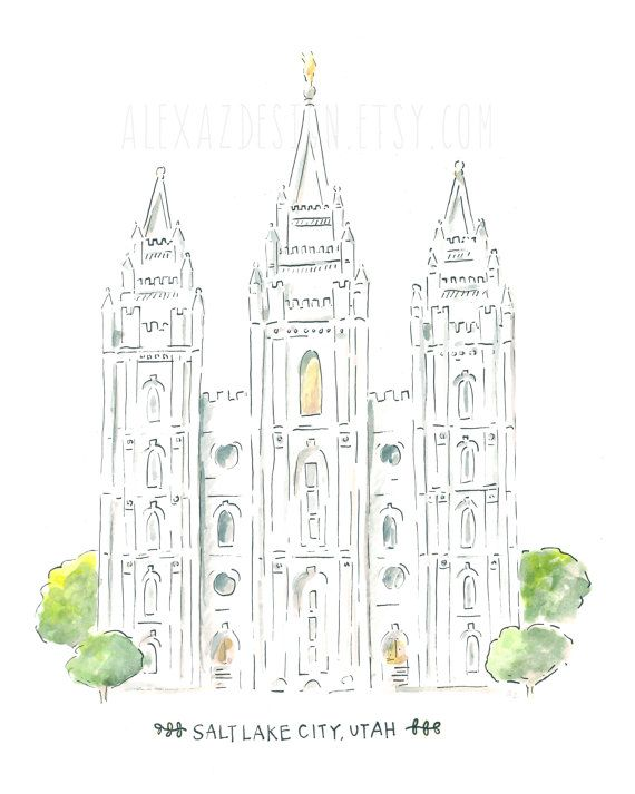 Salt Lake Temple LDS Temple Watercolor Print by alexazdesign