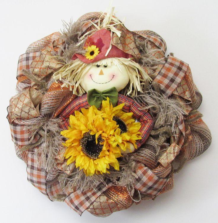 Scarecrow Wreath, Rustic Burlap Wreath, Farmhouse Wreath, Fall Wreaths for Front Door, Everyday Wreath, Fall Burlap Wreath, Sunflower Wreath