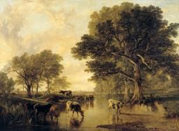 Frederick Richard Lee, Thomas Sidney Cooper 'Evening in the Meadows (cattle by Thomas Sidney Cooper)', exhibited 1854
