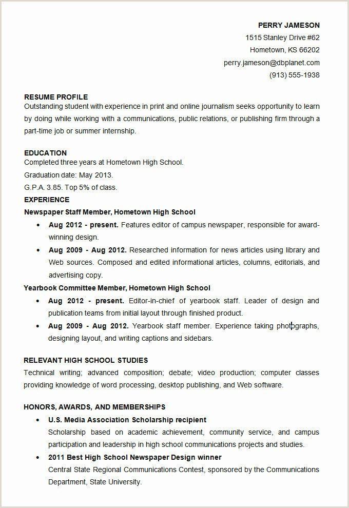 Professional Cv format in 2020 High school resume