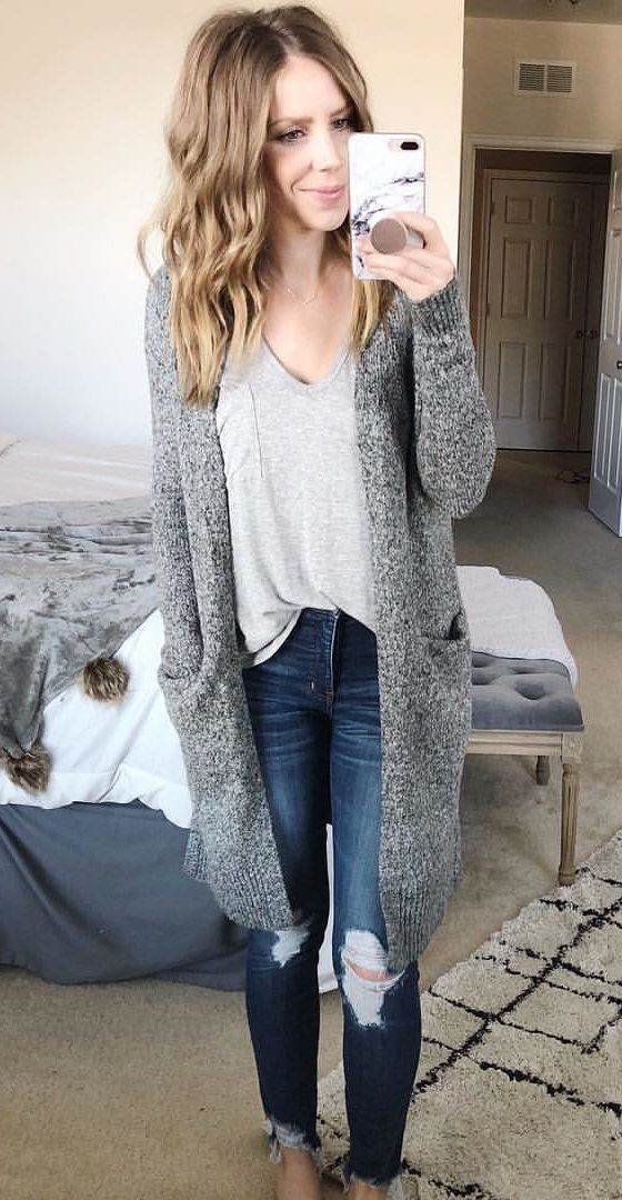 #fall #outfits women's gray v-neck shirt, heather-gray cardigan, and distressed blue denim jeans. Click To Shop This Look.