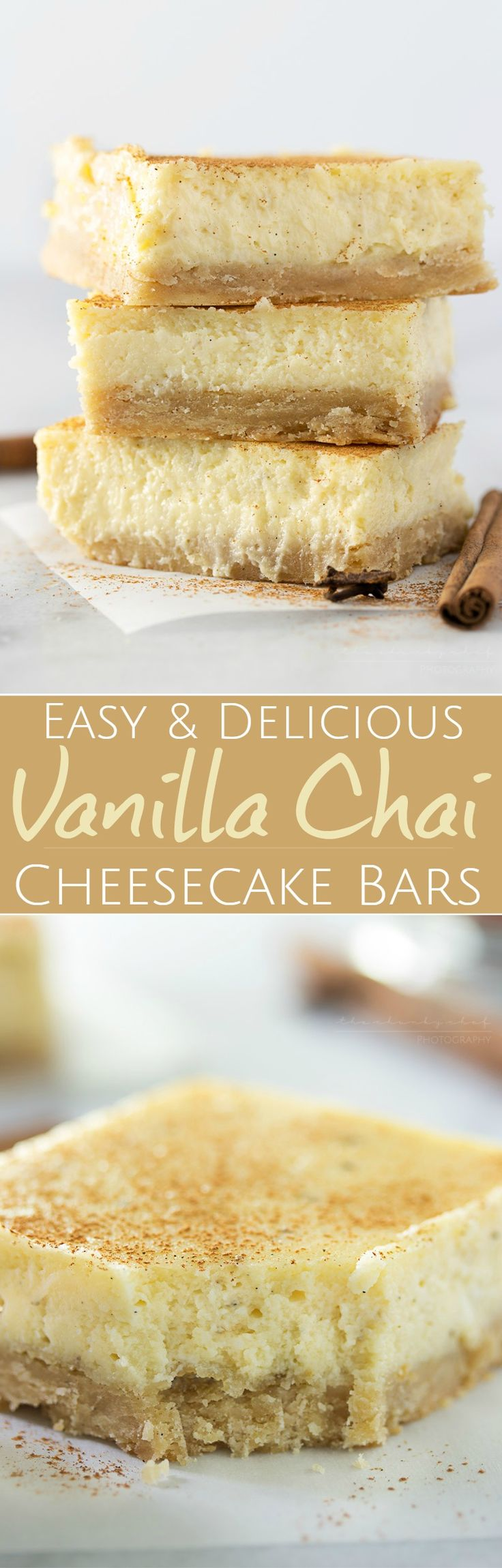 Vanilla Chai Cheesecake Bars | Love cheesecake, but don't want a whole cake? These lusciously creamy cheesecake bars are flavored with chai and vanilla bean for the perfect treat! | http://thechunkychef.com
