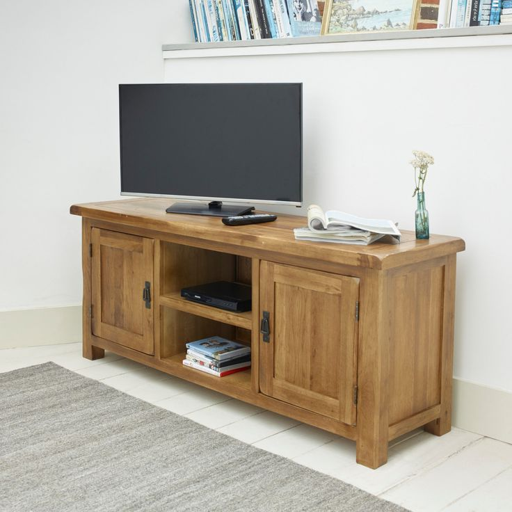 The Original Rustic Solid Oak Widescreen TV + DVD Cabinet is designed to hold your television at a comfortable viewing height and make the most of the space beneath.