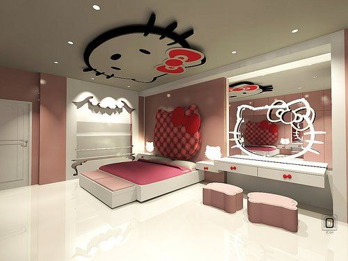 Adorable Hello Kitty Bedroom Idea For Girls