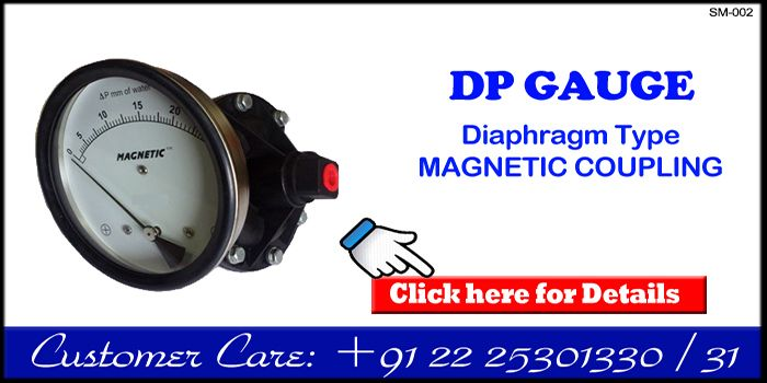 """Magnetic coupling Diaphragm type Differential Pressure Gauge  (CE Certified model) These gauges are suitable for Non-Magnetic Fluids only and more in demand for DP Measurement applications in HVAC and Filtration applications. Ranges : Various DP ranges from 15 mm Wc uo to 7 bar                We can also offer Compound ranges in series DGC 300 and series MAGNETIC  Dial sizes : Various options like 2 1/2"""", 3 1/2"""", 4"""", 4 1/2"""", 6"""" dia.  Connection : 1/4"""" NPT-F (Optional Male) \"""