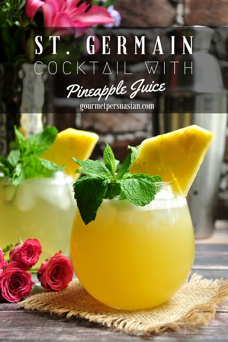 A refreshing and fragrant cocktail made with St. Germain, Rum, pineapple juice and Ginger Ale.