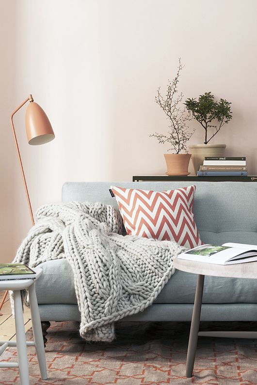 Love the serene colour scheme. Grasshopper lamp, chevron cushion. Don't forget a plant!