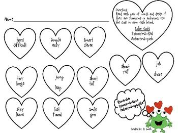 Free! Synonym and Antonym Hearts...decide if each pair of words are synonyms or antonyms and color according to the code