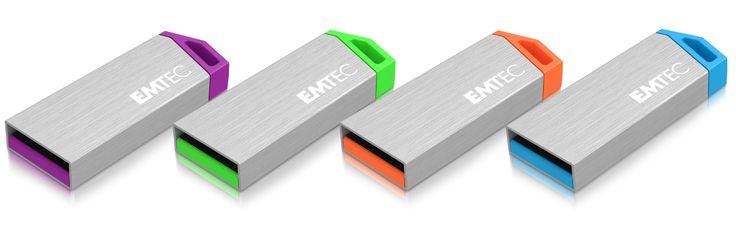 miniMetallic mini USB flash drive, 3/4 full familly - 4, 8, 16 & 32GB #EMTEC #FlashDrive